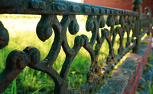 Antique Wrought Iron Fence Wit...