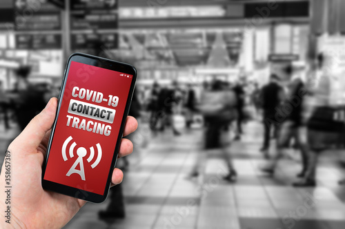 Fotografie, Obraz Contact tracing app concept on generic mockup smartphone for Covid-19 pandemic to trace people who have got infected by the virus
