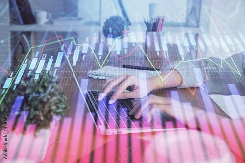 Double exposure of woman hands typing on computer and forex chart hologram drawing Tapéta, Fotótapéta