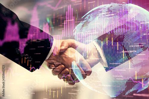 Fototapeta Double exposure of forex graph hologram and handshake of two men. Stock market concept. obraz