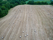 Aerial View Of Hay Bales Scatt...