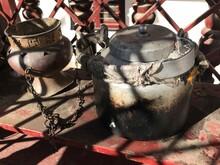 Antique Tibetan Dishes In A Bu...