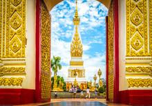 Phra That Phanom Pagoda At Phra That Phanom Temple , Nakhon Phanom Province, Northeastern Thailand