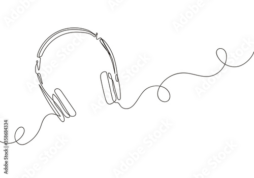 one line drawing of headphone speaker device gadget continuous lineart design isolated on white background Wallpaper Mural