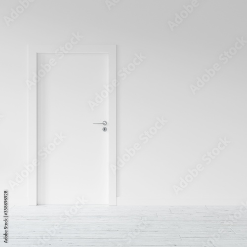Fototapeta 3D rendering of a bare room with white door and wall obraz na płótnie
