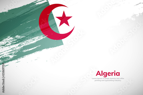 Brush painted grunge flag of Algeria country Canvas Print
