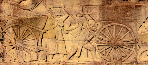 Fototapeta It's Drawing of the part of the army on the Bayon, Khmer temple at Angkor in Cambodia. Official state temple of the Mahayana Buddhist King Jayavarman VII obraz