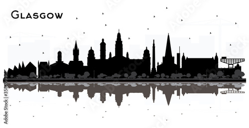 Glasgow Scotland City Skyline with Black Buildings and Reflections Isolated on White.