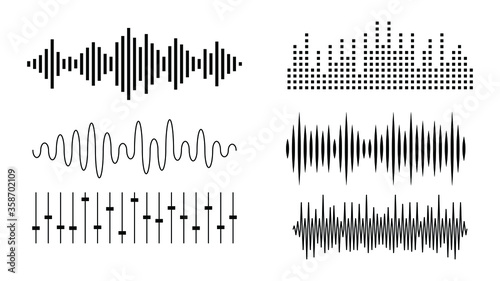 Photo Set Black Collection Abstract Elements Audio Waves Voice Sound Music Shapes Vect