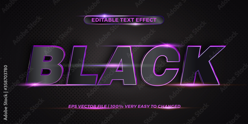 Fototapeta Editable 3d text effect styles mockup concept - Dark blue words with Gradient Black color