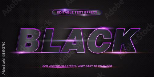 Obraz Editable 3d text effect styles mockup concept - Dark blue words with Gradient Black color - fototapety do salonu