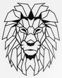 Illustration of a geometric head of a lion isolated on a white background