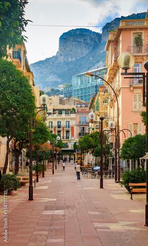 Pedestrian Street Rue Princess Caroline full of cafes and restaurants in Monaco-Ville Monaco