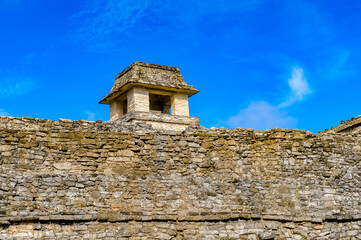 Close view of the Palace of Palenque, was a pre-Columbian Maya civilization of Mesoamerica. Known as Lakamha (Big Water). UNESCO World Heritage