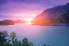Fjord At Sunset. Rocky Seashor...