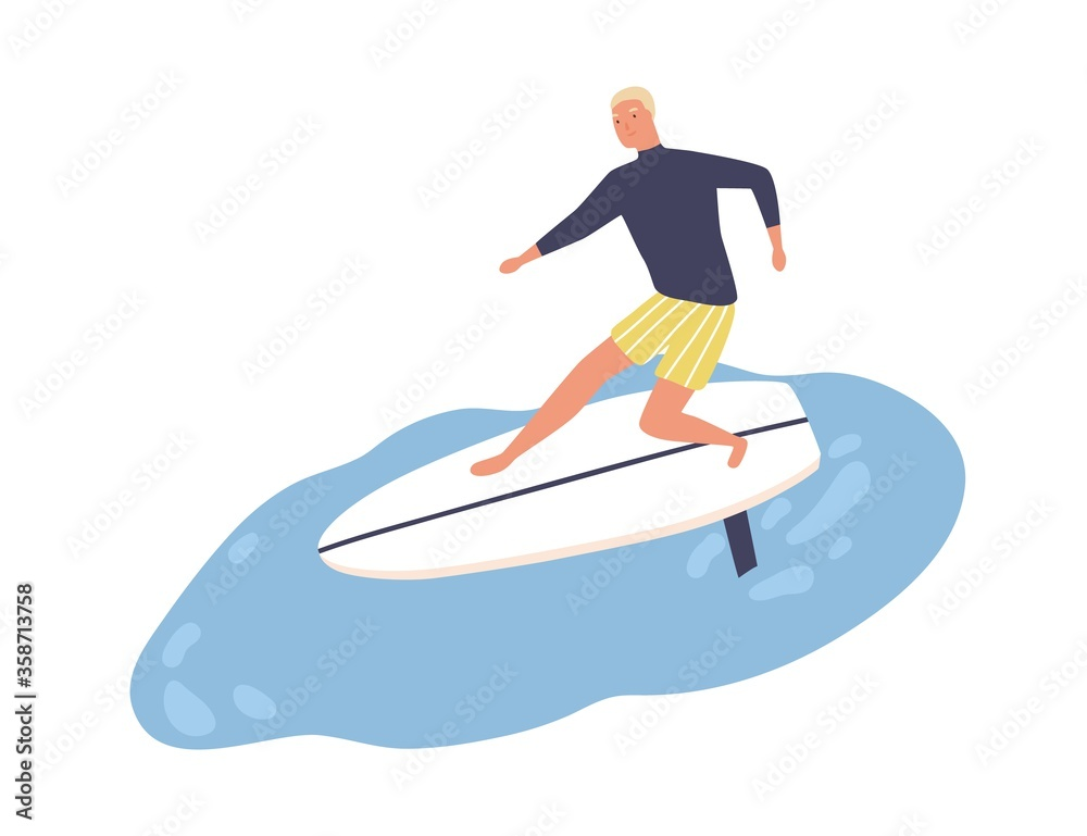 Fototapeta Active male enjoying surfing vector flat illustration. Smiling surfer in swimwear standing on surfboard at sea or ocean isolated on white. Cute guy ride on wave during season extreme sports activity