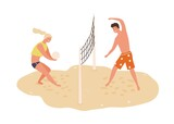 Smiling man and woman playing volleyball on beach vector flat illustration. Happy couple toss ball through net stand on sand isolated on white. Sports people enjoying outdoor summer activity together