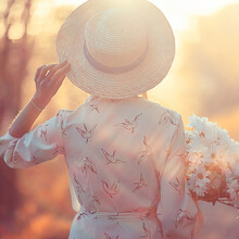 Romantic Girl In A Straw Hat V...