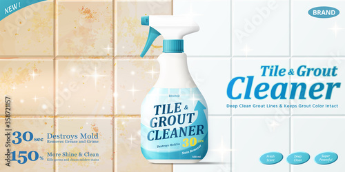 Fotografía Tile and grout cleaner ad template