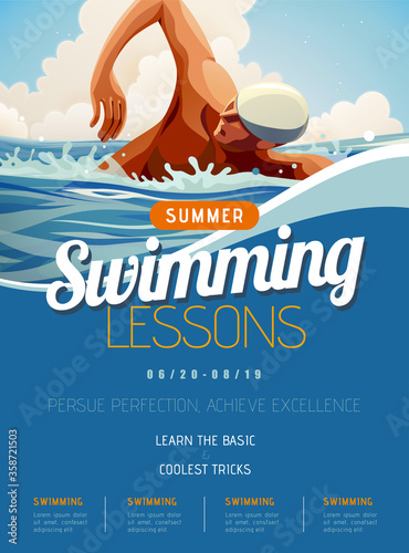 Obraz na płótnie Swimming lesson promotion poster