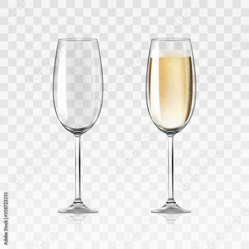Obraz Vector realistic full and empty glasses of champagne, beautiful shining glass isolated on transparent background with sparkly champagne. EPS 10. - fototapety do salonu