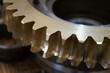 Factory Industrial of brass gear machinery. Metal Gear wheels. Machine part. Closeup