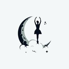 Dancing Moon Logo Design Templ...