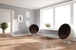 Leinwandbild Motiv modern room with armchair,table,plants and frames interior design. 3D illustration