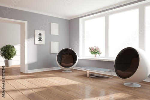 Leinwand Poster modern room with armchair,table,plants and frames interior design