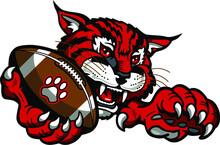 Wildcat Football Mascot Holdin...
