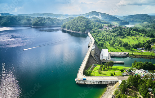 The Solina Dam aerial view, largest dam in Poland located on lake Solina. Hydroelectric power plant in Solina of Lesko County in the Bieszczady Mountains area of south-eastern Poland.