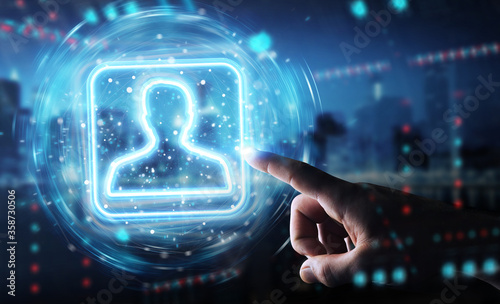 Photographie Man hand using digital blue holographic user interface 3D rendering
