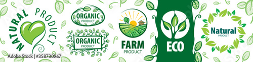 Fototapeta Set of vector icons for natural products obraz