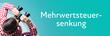 Leinwanddruck Bild - Mehrwertsteuersenkung. Mann mit Fernglas aus Vogelperspektive. Beobachtung, Draufsicht, Panorama. Business Text auf blau. Statistik, Wirtschaft