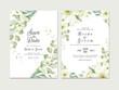 Wedding invitation template set with soft watercolor floral border decoration. Botanic illustration for card composition design