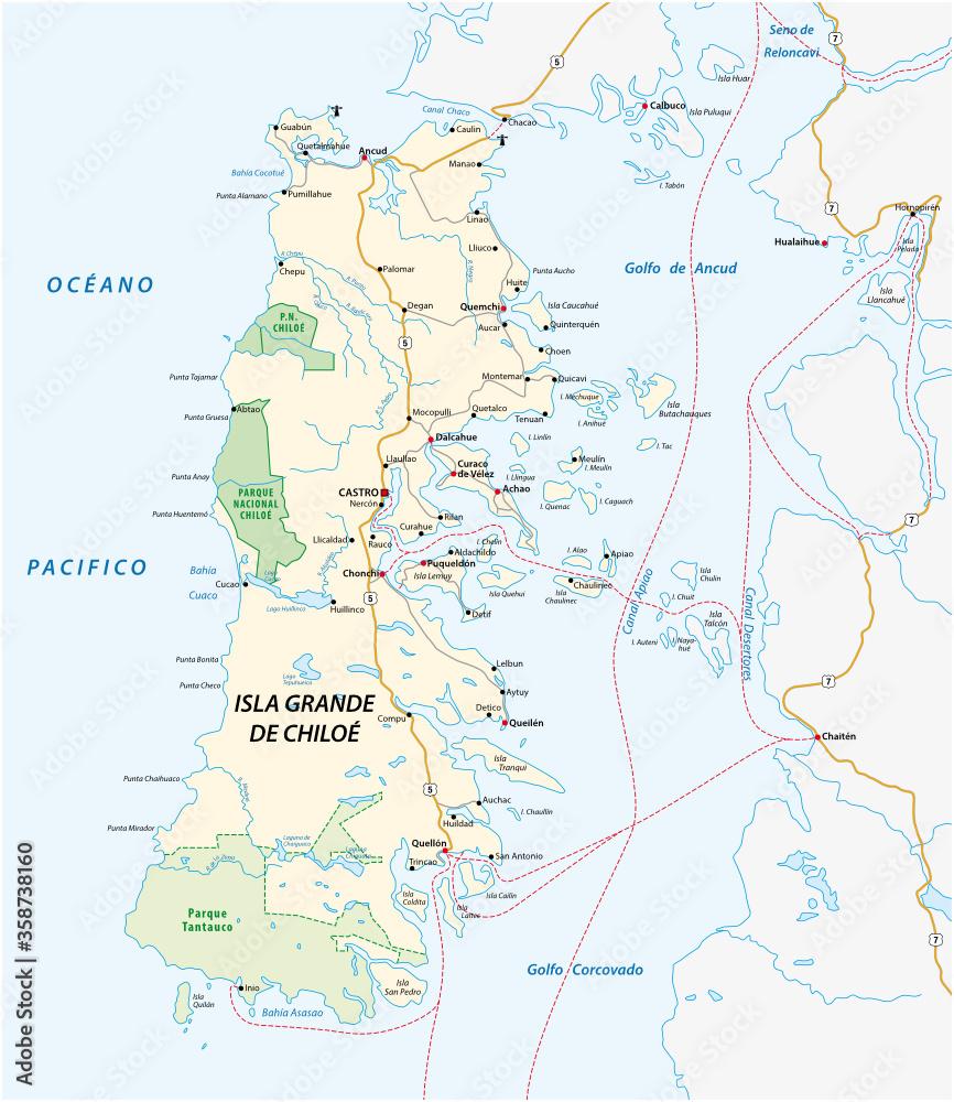 Fototapeta Vector road map of the Chilean island of Chiloe, Chile