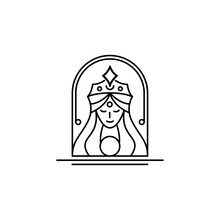Goddess Line Logo Design. Icon Logo Of Cleopatra Queen With Line Art Concept. Stylized Portrait Of The Young Beautiful Girl With Long Hair. Esoteric Symbol Of A Feminine, Goddess, Mermaid.