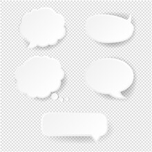 Speech Bubble Set Transparent Background With Gradient Mesh, Vector Illustration