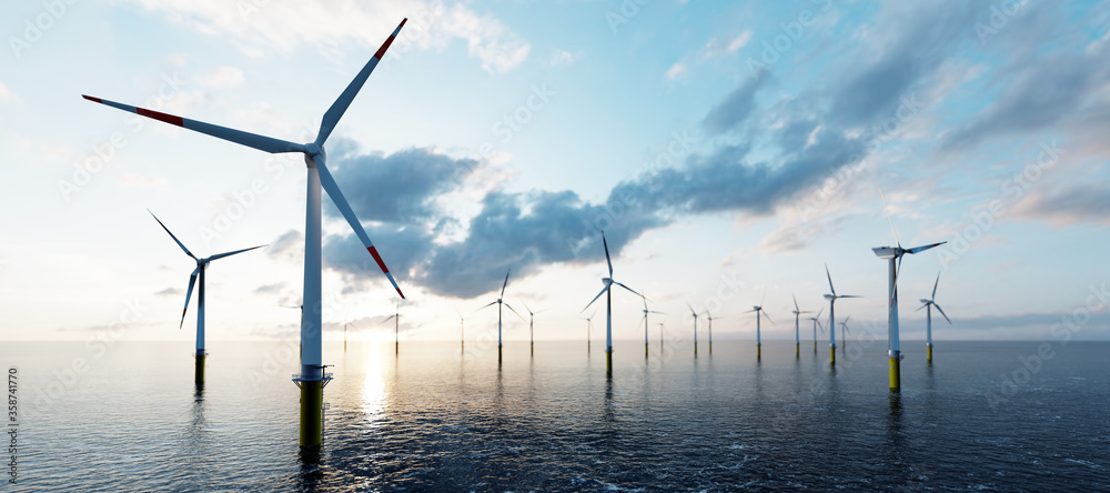 Fototapeta Offshore wind turbines farm on the ocean. Sustainable energy