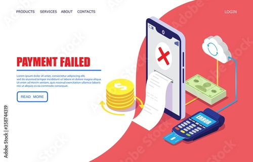 Fotomural Payment failed vector website template, web page and landing page design for website and mobile site development