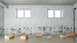 Leinwanddruck Bild - Kartons im Wasser nach Wasserschaden im Keller