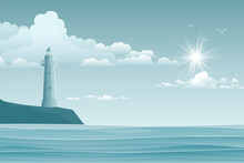 Seascape With Lighthouse And W...