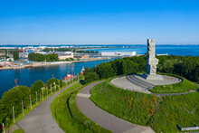 Aerial View Of Westerplatte Monument In Memory Of The Polish Defenders. The Battle Of Westerplatte Was One Of The First Battles In Germany's Invasion Of Poland, World War II.