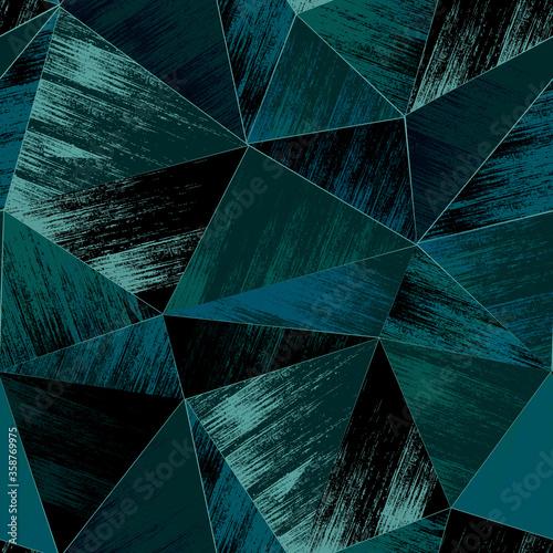 Obraz Seamless Grange polygon pattern. Blue triangles on a black background. - fototapety do salonu