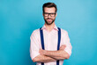 canvas print picture - Photo of handsome macho cheerful business man cool trend clothes guy smile without teeth eyesight vision specs arms crossed wear pink shirt suspenders isolated pastel blue color background