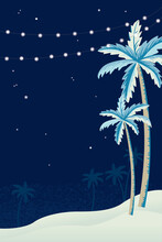 Palm Trees And Hanging Decorative Lights For A Beach Party
