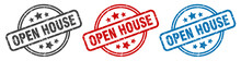 Open House Stamp. Open House Round Isolated Sign. Open House Label Set