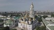 The architecture of Kyiv. Ukraine: Aerial view of Kyiv Pechersk Lavra. Slow motion, flat, gray