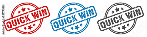quick win stamp. quick win round isolated sign. quick win label set