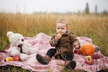 Cute Baby With Teddy Bear And ...